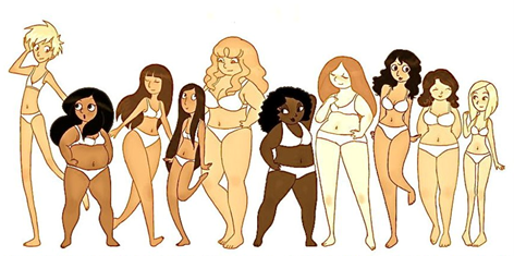 Cartoon women of all shapes and sizes